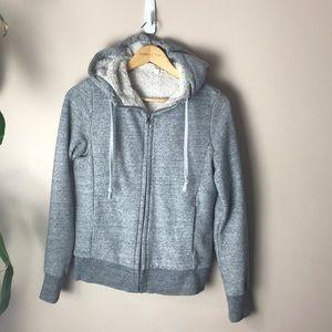 Uniqlo Grey faux fur lined zip up hoodie
